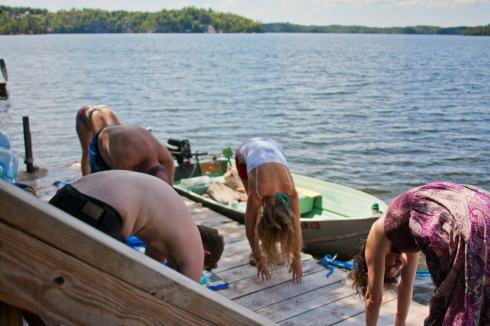 This is me leading a yoga session up at our Lake House-about four years ago.....sigh.